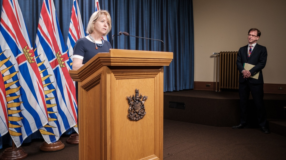 Dr. Bonnie Henry and Health Minister Adrian Dix give an update on the spread of COVID-19 in B.C. on May 11, 2020. (Province of BC/Flickr)
