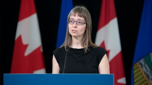 Dr. Deena Hinshaw, Alberta's chief medical officer of health, provides an update from Edmonton on Friday, April 17, 2020 on COVID-19 and the ongoing work to protect public health. (Chris Schwarz/Government of Alberta)