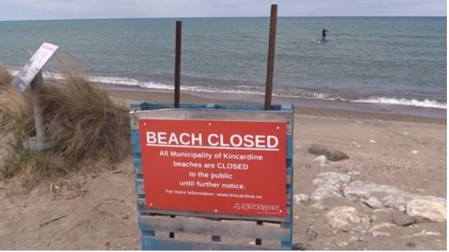 Kincardine Ont. beach closed sign