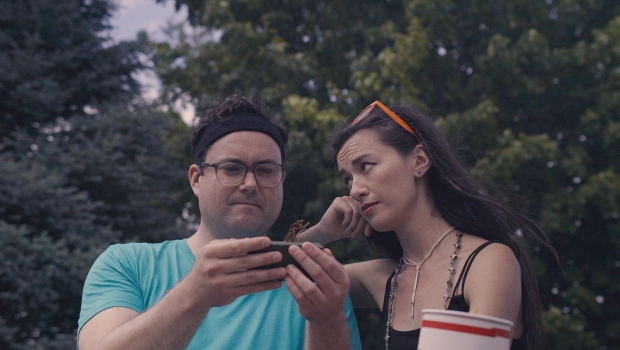 "Damon (Kristian Bruun) and Phoebe (Cara Gee) are seen in a scene from the film ""Red Rover."" (Red Rover)"