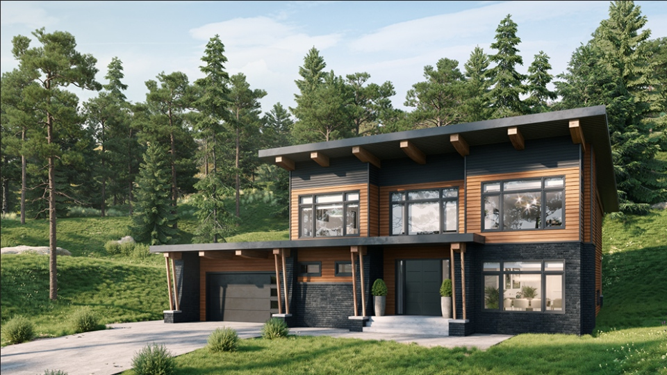 The 2020 PNE Prize Home is seen in this handout image from event organizers. This year's home will eventually be relocated to Pemberton.