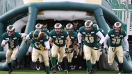 Regina Rams run out of the tunnel at Mosaic Stadium. Courtesy: CanadaWest.org