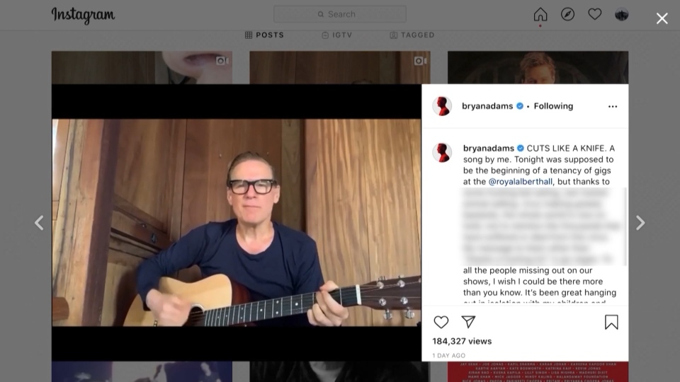 Bryan Adams' instagram post