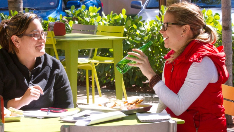 In this Tuesday, Jan. 27, 2015 photo, two women dine at a patio restaurant in Aventura, Fla. (AP Photo/Wilfredo Lee)