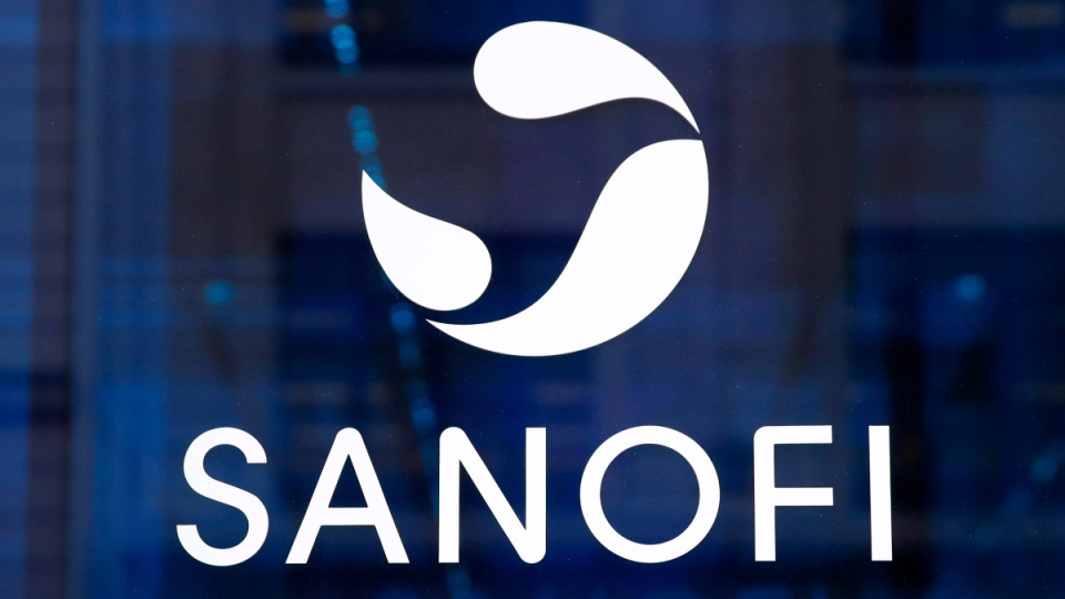 The logo of French drug maker Sanofi