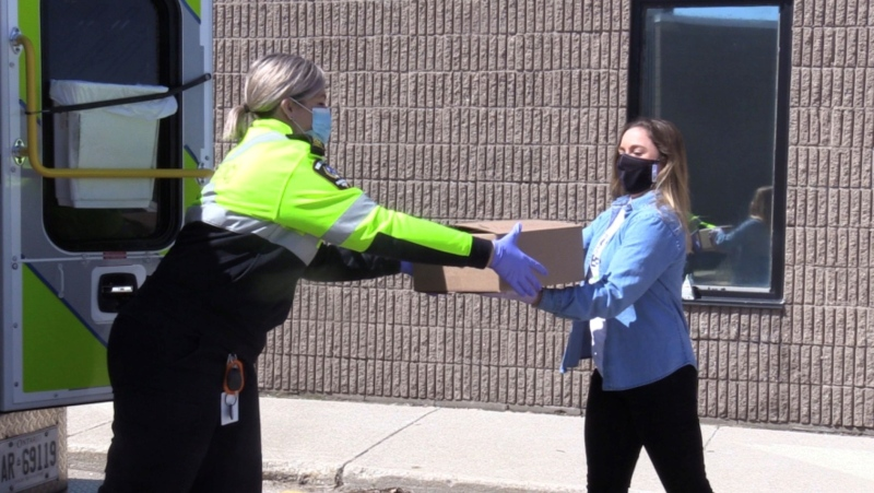 Nuts for Cheese donates product to Middlesex-London EMS in London, Ont. on Wednesday, May 14, 2020. (Celine Zadorsky / CTV London)