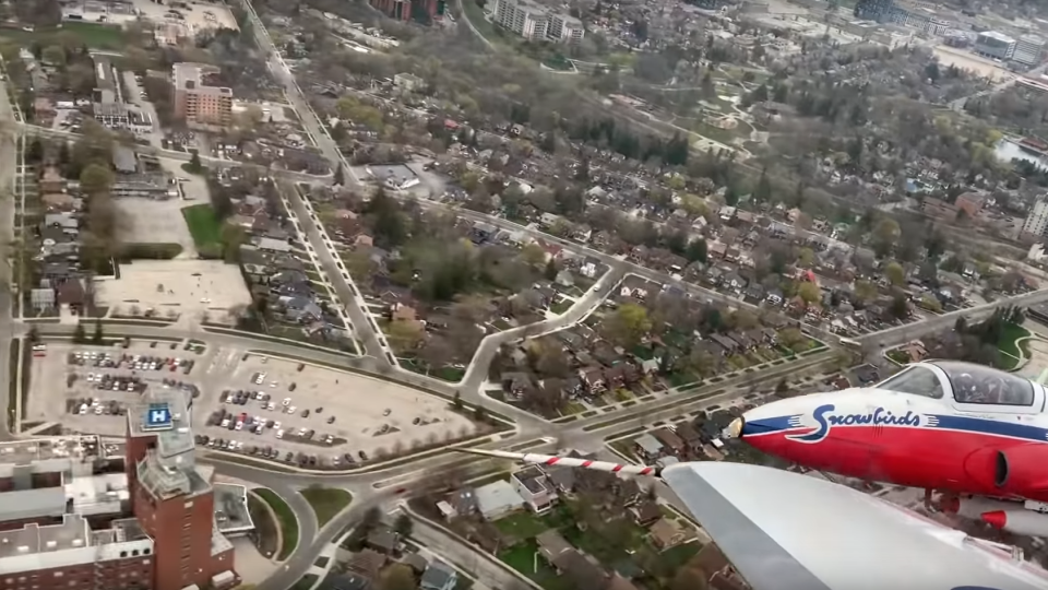 Video shows the Canadian Forces Snowbirds' flight over Waterloo Region during its flyover over the weekend. (Matt Mackenzie / YouTube)