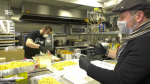 Restaurant kitchen following COVID guidelines