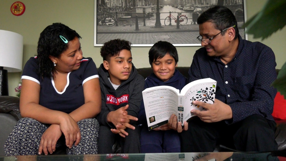 Jay Chowdhury and his family spending quality time together after he returned home from a 47-day stay in hospital