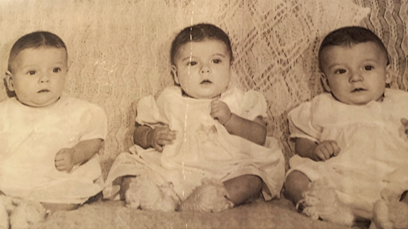 Triplets Louis and Gilles Rochon and Paulette Lagacé were born on May 15, 1950 during one of the greatest natural disasters in Manitoba. (Submitted: Rachel Lagacé/ CTV News Winnipeg)