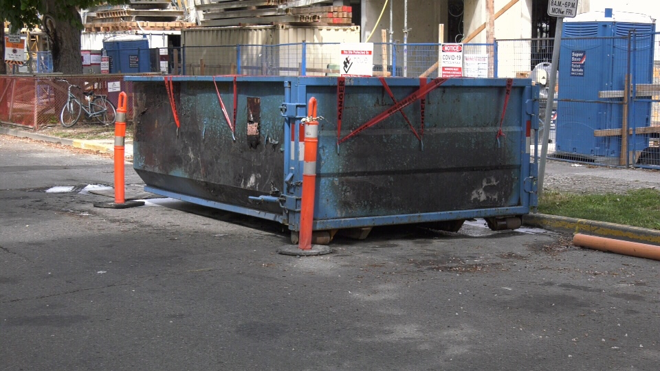 The damaged construction bin is shown: May 14, 2020 (CTV News)