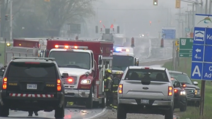 Emergency crews work at the scene of a fatal crash on Wellington Road near St. Thomas, Ont. on Thursday, May 14, 2020. (Jim Knight / CTV London)