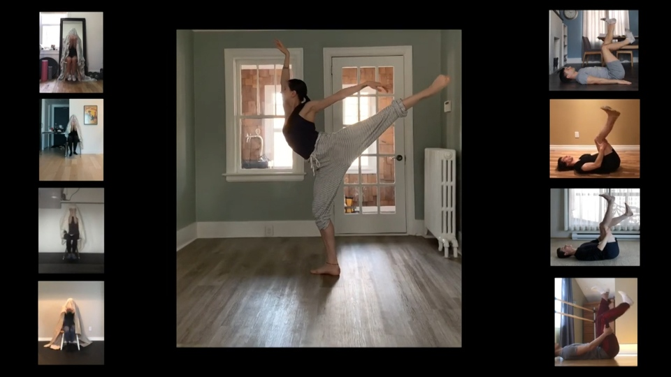 A screenshot shows dancers from the Royal Winnipeg Ballet performing at home (Photo courtesy Royal Winnipeg Ballet)