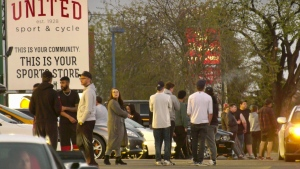 Approximately 200 people held a car meet on Whyte Avenue Wednesday night despite the province's ban on large gatherings of 15 people or more. May 13, 2020. (Sean Amato/CTV News Edmonton)