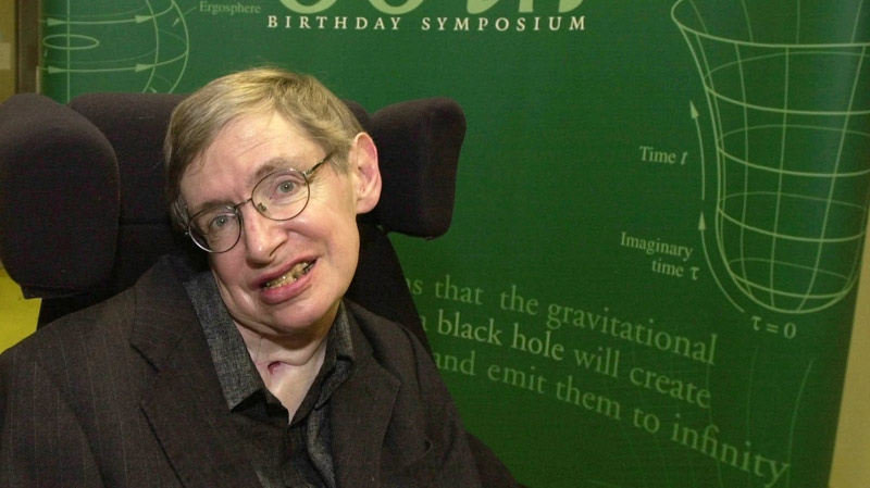 Famed physicist Stephen Hawking is seen at the Centre for Mathematical Sciences, at the University of Cambridge, England, Friday, Jan. 11, 2002. (AP / Richard Lewis)