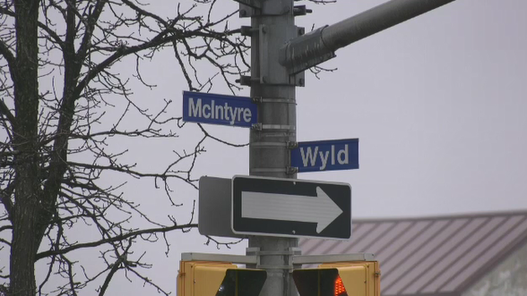 McInytre and Wyld Street signs in North Bay