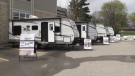 Trailers for families outside of Ronald McDonald House in London, Ont. on May 15, 2020.