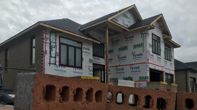 A new home is under construction on Clearwater Avenue in East Windsor on May 15, 2020. (Rich Garton / CTV Windsor)