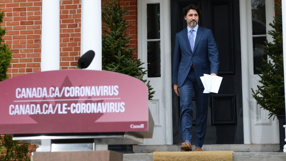 Prime Minister Justin Trudeau holds a press conference at Rideau Cottage during the COVID-19 pandemic in Ottawa on Friday, May 15, 2020. THE CANADIAN PRESS/Sean Kilpatrick