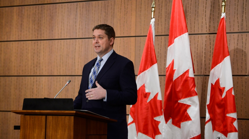 Conservative leader Andrew Scheer holds a press conference on Parliament Hill during the COVID-19 pandemic in Ottawa on Monday, May 4, 2020. THE CANADIAN PRESS/Sean Kilpatrick