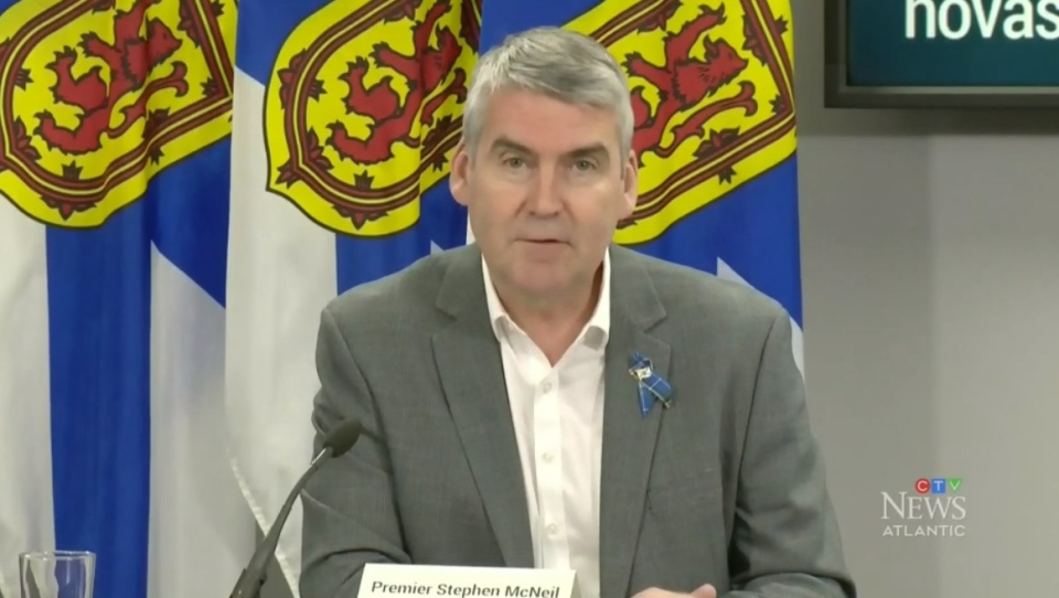 Nova Scotia Premier Stephen McNeil provides an update on COVID-19 during a news conference in Halifax on May 15, 2020.