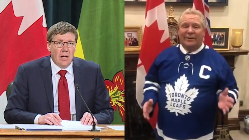 Premiers Scott Moe and Doug Ford have been taking shots at each other's favourite NHL teams.