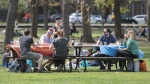 People gather in a city park on a sunny day in Montreal, Sunday, May 17, 2020, as the COVID-19 pandemic continues in Canada and around the world. THE CANADIAN PRESS/Graham Hughes