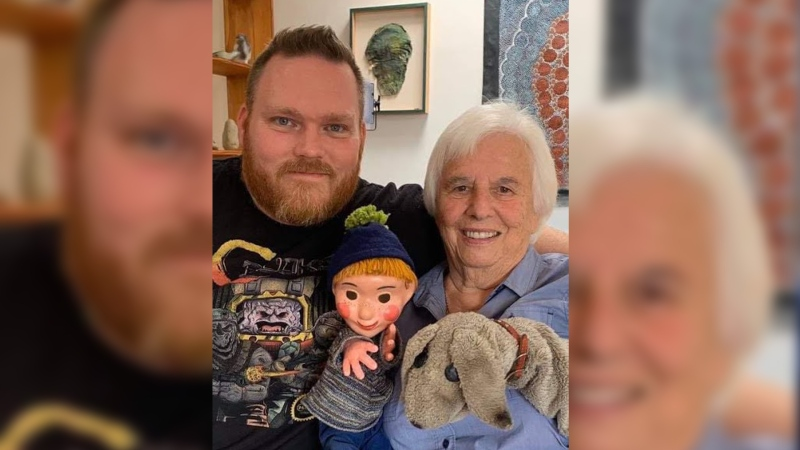 Producer/Director Rob McCallum is seen here with Judith Lawrence, performer of Casey and Finnegan of Mr. Dressup (Source: Jordan Morris)