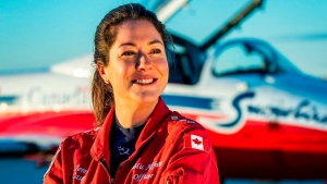 Capt. Jennifer Casey poses for a photo. (Royal Canadian Air Force via AP)