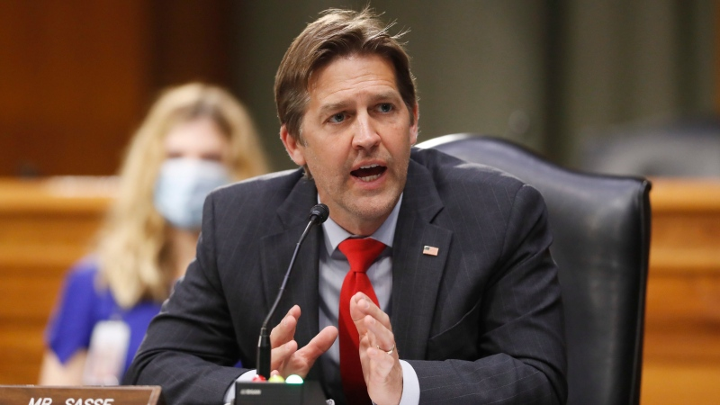 Sen. Ben Sasse, R-Neb., speaks during a Senate Intelligence Committee nomination hearing for Rep. John Ratcliffe, R-Texas, on Capitol Hill in Washington, Tuesday, May. 5, 2020. (AP Photo/Andrew Harnik, Pool)