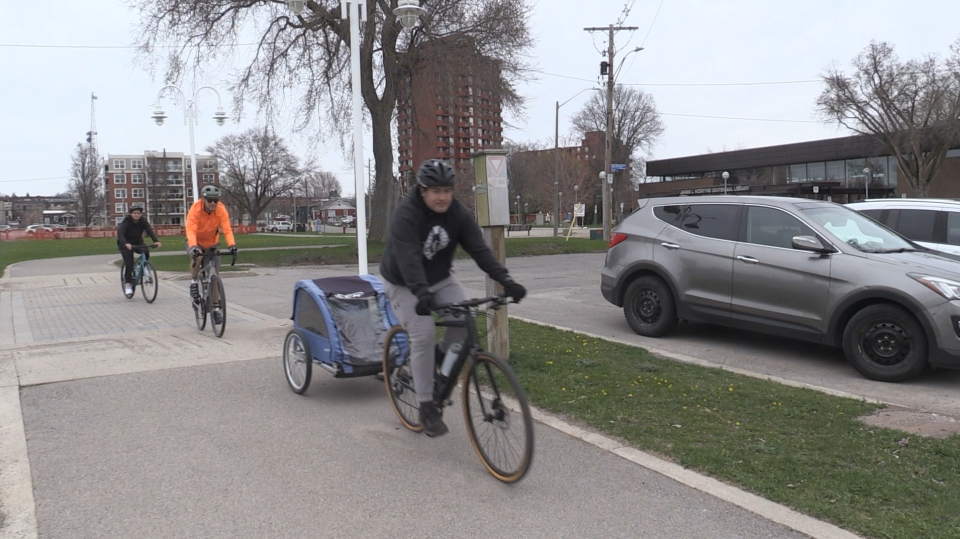 Cyclists in Sault Ste. Marie