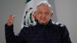 In this April 3, 2020 file photo, Mexican President Andres Manuel Lopez Obrador speaks after visiting facilities at a Mexican Social Security Institute hospital that will be converted to receive patients suffering from Covid-19, in the Coyoacan district of Mexico City. (AP Photo/Rebecca Blackwell, File)