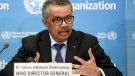 """FILE - In this Monday, Feb. 24, 2020 file photo, Tedros Adhanom Ghebreyesus, Director General of the World Health Organization (WHO), addresses a press conference about the update on COVID-19 at the World Health Organization headquarters in Geneva, Switzerland. The European Union is calling for an independent evaluation of the World Health Organization's response to the coronavirus pandemic, """"to review experience gained and lessons learned."""" (Salvatore Di Nolfi/Keystone via AP, File)"""