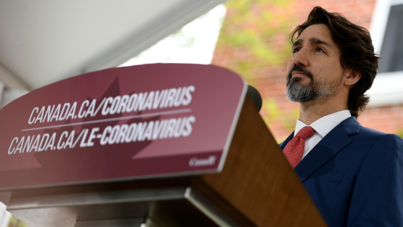 Prime Minister Justin Trudeau speaks during his daily news conference on the COVID-19 pandemic outside his residence at Rideau Cottage in Ottawa, on Tuesday, May 19, 2020. THE CANADIAN PRESS/Justin Tang