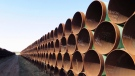 Pipes intended for construction of the Keystone XL pipeline are shown in Gascoyne, N.D. on Wednesday April 22, 2015. THE CANADIAN PRESS/Alex Panetta