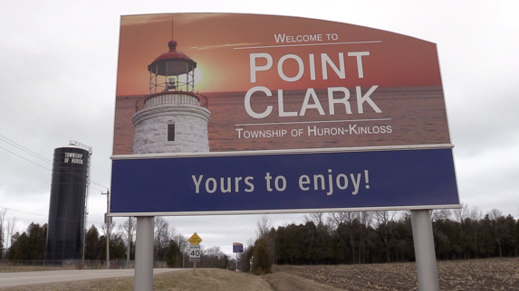 Welcome sign for Point Clark, Ont.
