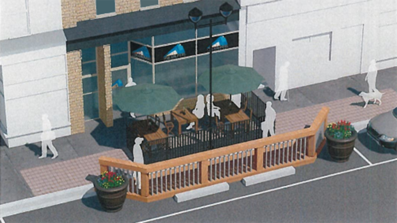 A concept design for pop-up patios from the City of St. Thomas agenda.