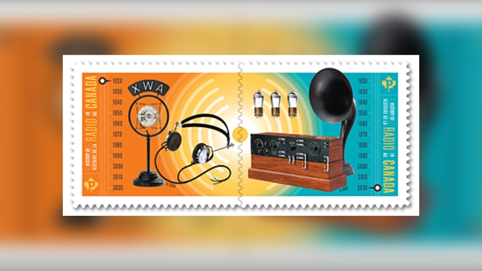 The History of Radio in Canada stamps by Canada Post.