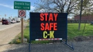 "A ""Stay Safe"" sign in Chatham-Kent, Ont., on Wednesday, May 20, 2020. (Chris Campbell / CTV Windsor)"