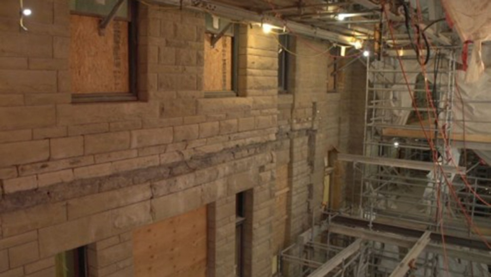 The effort to repair and restore the sandstone of the historic city hall building is nearly complete (City of Calgary)