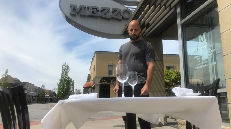 Mezzo Ristorante and Lounge owner Fil Rocca on Erie Street in Windsor, Ont., on Wednesday, May 20, 2020. (Rich Garton / CTV Windsor)