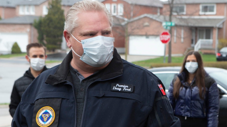 Ontario Premier Doug Ford is seen wearing a mask in Vaughan, Ontario, on Sunday April 19 2020. THE CANADIAN PRESS/Chris Young
