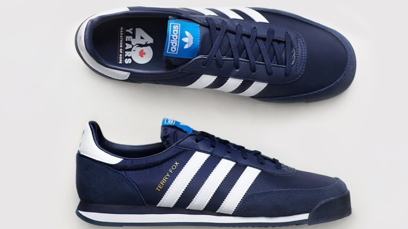 Adidas' Terry Fox commemorative shoes, seen here, sold out in Canada in a matter of minutes. (Source: Adidas Canada, Twitter)