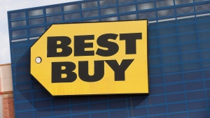 In this Aug. 27, 2019, file photo, the Best Buy logo is shown on a store in Richfield, Minn. THE CANADIAN PRESS/AP/Jim Mone