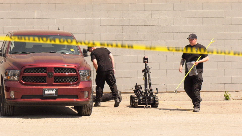 Winnipeg Police and Firefighters have responded to a suspicious incident on Wednesday, May 20 at Pembina Highway and Warsaw Avenue. (CTV News Photo Scott Andersson)