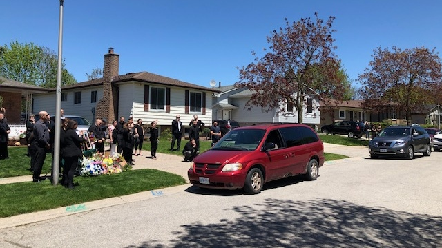 An emotional drive-by tribute for Adnan Chehade, who died in hospital, was held in London, Ont. on Wednesday, May 20, 2020. (Nick Paparella / CTV London)