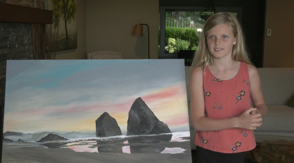 "Kate Morrissy, 9, says the pandemic has been ""pretty boring,"" prompting her to fill the time with art. (CTV)"