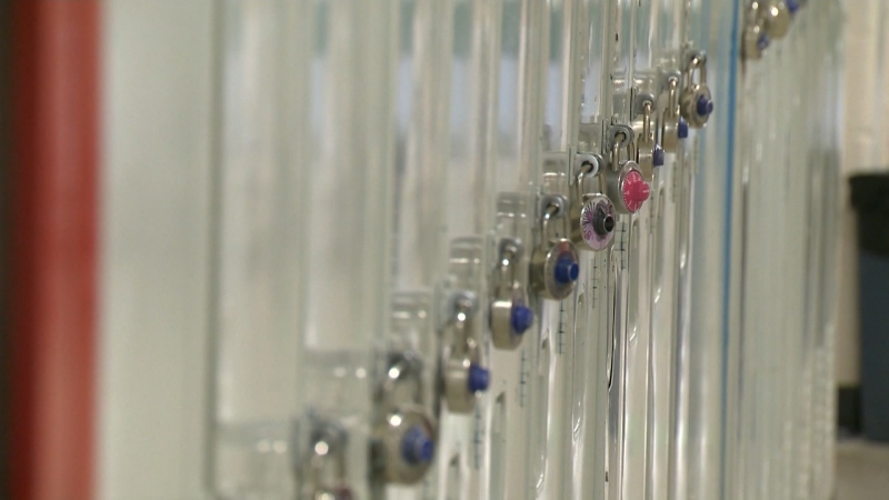 A file photo of school lockers. (CTV News Edmonton)