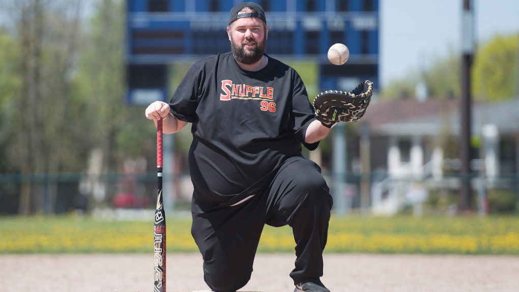 Jason Dorrington at a baseball field in Montreal