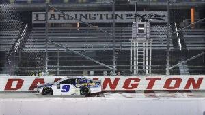 Chase Elliott drives during the NASCAR Cup Series auto race in Darlington, S.C., on May 20, 2020. (Brynn Anderson / AP)